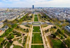 Aerial view of Champs de Mars and Paris city from Eiffel Tower. France. April 2019.  royalty free stock photography