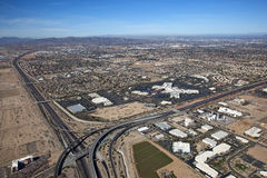 Aerial view of Chandler shopping district. Aerial view of freeway interchange next to a shopping Mall in Chandler, Arizona Stock Photography