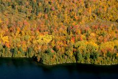 Aerial View of the changing fall colors of New England. The natural beauty of the lakes rivers and trees of Maine, New England, during the spectacular changing Stock Photography