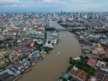 Aerial view of Chao Phraya river at Bangkok Stock Photo