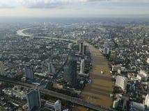 Aerial view of Chao Phraya river in Bangkok Thailand.  Stock Image