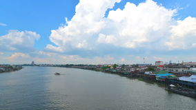 Aerial view of Chao Phraya river which have various transportation boat sail. Aerial view of Chao Phraya river which have various transportation boat sail stock footage