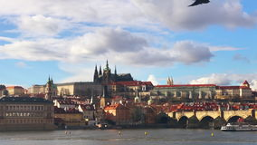 Aerial view of Charles Bridge Karluv Most,Prague. Aerial view of Charles Bridge Karluv Most over the Vltava river. This is a famous historic and touristic stock video