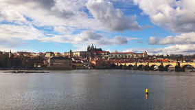 Aerial view of Charles Bridge Karluv Most,Prague. Aerial view of Charles Bridge Karluv Most over the Vltava river. This is a famous historic and touristic stock footage