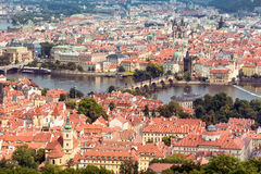 Aerial view of Charles Bridge over Vltava river and Old city. Pr Stock Image