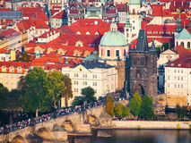 Aerial view of Charles Bridge over Vltava River and Old city in Prague Royalty Free Stock Images