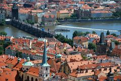 Aerial view of Charles bridge in Prague Royalty Free Stock Image