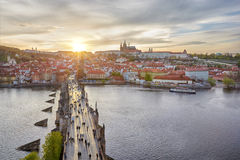 Aerial view of Charles Bridge and Prague Castle Stock Photography