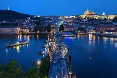 Aerial view of Charles Bridge stock photography