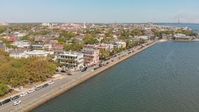 Aerial view of Charleston cityscape from the river, South Caroli. Na Royalty Free Stock Images