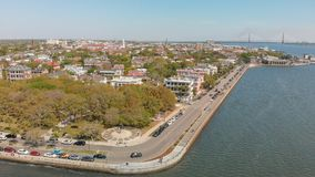 Aerial view of Charleston cityscape from the river, South Caroli. Na Stock Photos