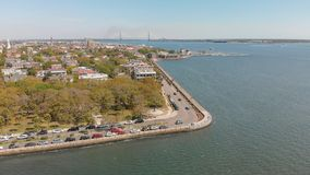 Aerial view of Charleston cityscape from the river, South Caroli. Na Stock Image