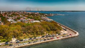 Aerial view of Charleston cityscape from the river, South Caroli. Na Royalty Free Stock Photo