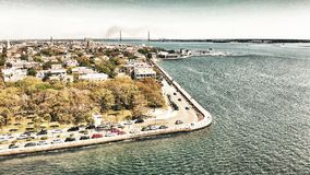 Aerial view of Charleston cityscape from the river, South Caroli. Na Royalty Free Stock Photos