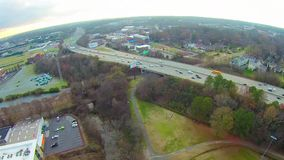 Aerial view of Charlotte NC skyline stock video footage