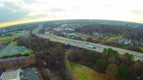 Aerial view of Charlotte NC skyline stock footage