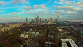 Aerial view of Charlotte NC skyline stock video