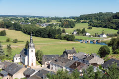 Aerial view of Chassepierre, picturesque village in Belgian Ardennes. At river Semois stock images