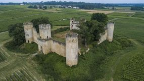 Aerial view Chateau de Budos and wheat field in summer stock photos