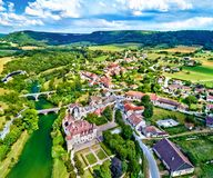 Aerial view of the Chateau de Cleron, a castle in France royalty free stock image