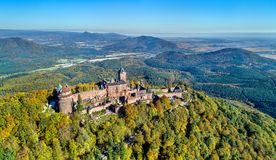 Aerial view of the Chateau du Haut-Koenigsbourg in the Vosges mountains. Alsace, France stock photos