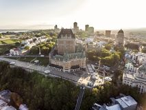 Aerial helicopter view of Chateau Frontenac hotel and Old Port in Quebec City Canada. Aerial view of Chateau Frontenac hotel and Old Port in Quebec City, Canada Royalty Free Stock Image