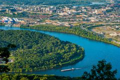 Chattanooga aerial view. Aerial view of Chattanooga and the Tennessee River with river barge in the foreground Stock Photography