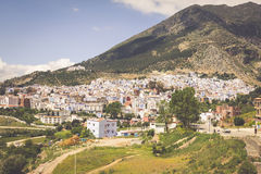 Aerial view of Chefchaouen, Morocco Stock Photo