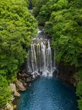 Aerial View of Cheonjeyeon Waterfall on Jeju Island, South Korea