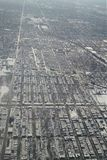 Aerial view of Chicago city landscape after snowfall stock photo