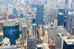 Aerial view of Chicago downtown at foggy day. From high above, Illinois USA Royalty Free Stock Photos