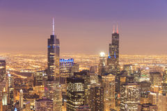 Aerial view of Chicago downtown at nigh from high above. Stock Photography