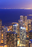 Aerial view of Chicago downtown at nigh from high above. Royalty Free Stock Image