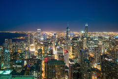 Aerial view of Chicago downtown skyline at sunset. From high above Royalty Free Stock Photo