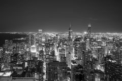 Aerial view of Chicago downtown skyline at sunset. From high above Royalty Free Stock Photography