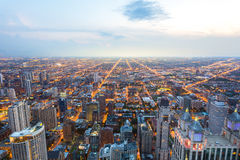 Aerial view of Chicago downtown at sunset Royalty Free Stock Photography