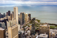 Aerial view of Chicago with Jay Pritzker Pavilion and the Millen Royalty Free Stock Photos