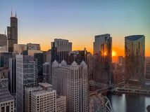 Aerial view of Chicago Loop and Chicago River during sunset stock photo