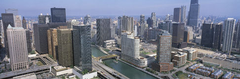 Aerial view of the Chicago River Royalty Free Stock Photos