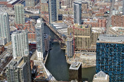 Aerial view of Chicago River in Chicago Royalty Free Stock Photos