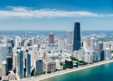 Aerial view of the Chicago skyline from an helicopter Stock Photos