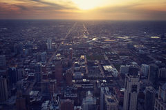 Aerial view of Chicago with sunset Stock Photo