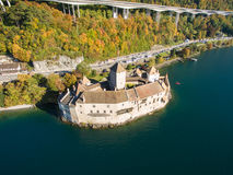 Aerial view of Chillon Castle - Chateau de Chillon in Montreux, Switzerland Stock Photography