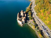 Aerial view of Chillon Castle - Chateau de Chillon in Montreux, Switzerland Royalty Free Stock Images