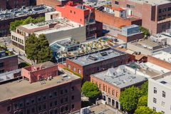 Aerial view on the Chinatown in San Francisco, USA. San Francisco`s Chinatown is one of North America`s largest Chinatowns royalty free stock image