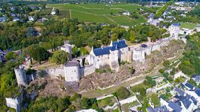 Aerial photo of Chinon castle Royalty Free Stock Photography