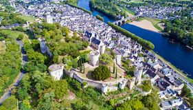 Vertical photo of Chinon castle Stock Photo