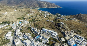 Aerial view of Chora town, Ios island, Cyclades, Aegean, Greece Royalty Free Stock Photos