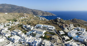Aerial view of Chora town, Ios island, Cyclades, Aegean, Greece Royalty Free Stock Image