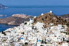 Aerial view of Chora town, Ios island, Cyclades, Aegean, Greece. Aerial view of Chora town, Ios island, Cyclades Aegean, Greece royalty free stock photography